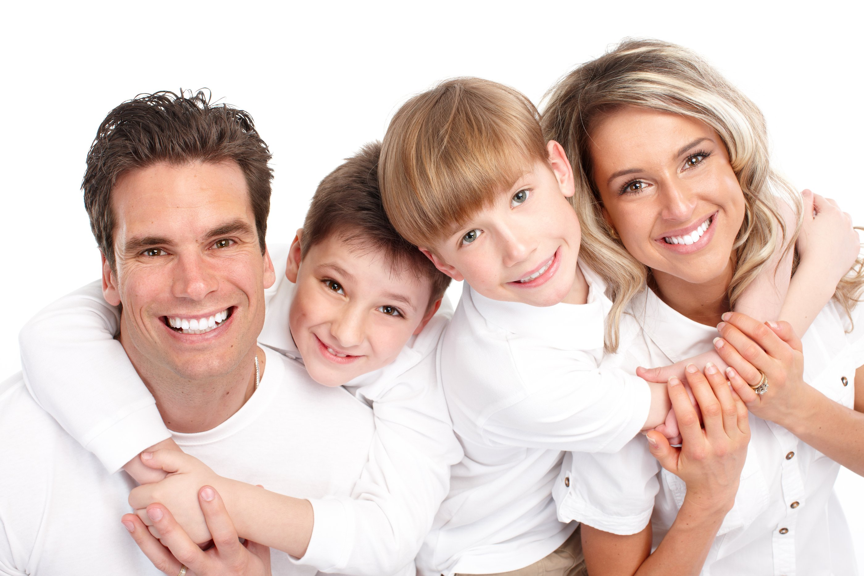 Happy family. Father mother and children. Over white background